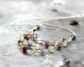 Layered Necklace Gemstone Bib Sterling Silver Confetti Semi Precious Multi Stone Color Three Tiered Necklace