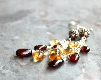 Citrine Garnet Earrings Long Cascade Statement Earrings, Sterling Silver Gemstone Earrings