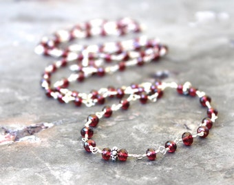 Garnet Necklace Opera Length Sterling Silver Long Strand Necklace Red Gemstones Double Wrap Made To Order