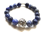 Blue Sodalite and silver plated bali bead stretch bracelet - Birthday, anniversary, Mother's Day, Graduation- fast ship