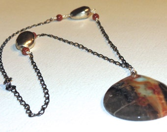 Chunky black and orange Agate long chain Necklace - Anniversary, Birthday, Graduation - long necklace - fast shipping