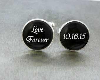 Wedding Date Gift, Wedding Cufflinks, Wedding Gift for Groom From Bride, Valentines Gift For Him, 10 Year Anniversary Gift For Him, 50th