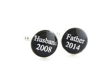 Husband Gift Father's day Gift Dad Cuff links Custom Cufflinks Gift for Dad Father of the Bride Birthday Gift for Man Personalized
