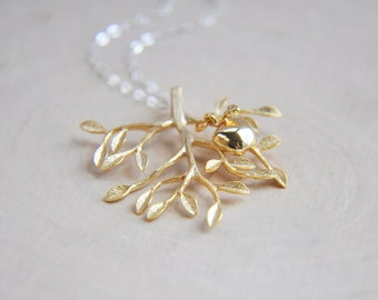 Tree Necklace, Family Necklace, Tree of Life Necklace, Apple Necklace, Gold Tree Necklace, Nature Necklace, Gifts for her, Silver and Gold