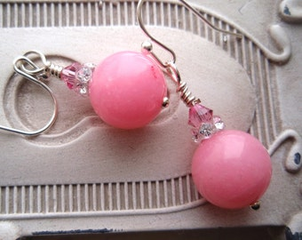 Light Pink Coral Earrings, Coral Earrings, Pink Earrings, Pale Pink Earrings, Crystal Earrings, Swarovski earrings