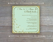Bridal Shower, Engagement Party, Wedding Invitation-Aqua Mint and Glitter Digital Printable File OR Professionally Printed Cards