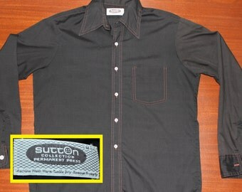 Sutton Collection vintage 70s black western style button-up shirt M/L 15/15.5
