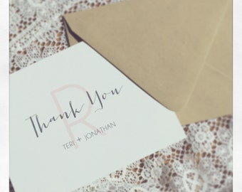 Thank You Card - Initial Newly Weds - Custom Colors
