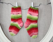 newborn watermelon hand knit socks