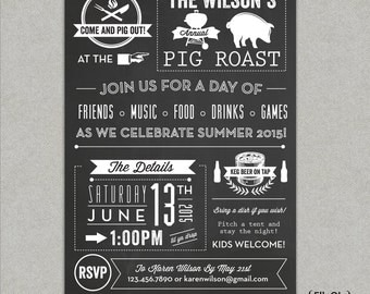 Chalkboard Pig Roast Party Invitation - Birthday - Summer - BBQ- Barbeque - Beer