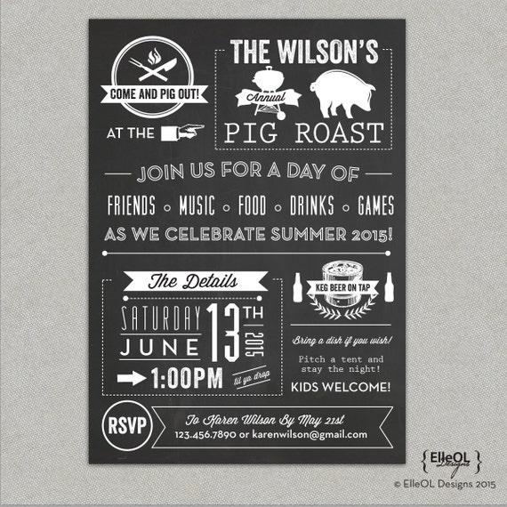 Chalkboard Pig Roast Party Invitation Birthday Summer