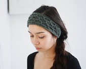 knit headband recycled TRELLIS - juniper