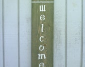 Welcome Sign - Hand Painted - Folk Inspired - Recycled Wood Sign