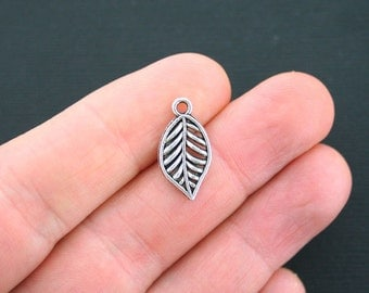 10 Leaf Charms Antique Silver Tone 2 Sided- SC2620