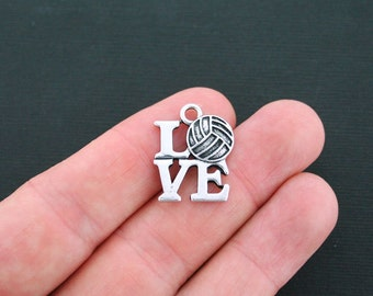 2 Love Volleyball Charms Antique Silver Tone - SC3412
