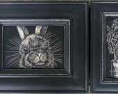 Bunny with Carrot on Reclaimed Wood Panel
