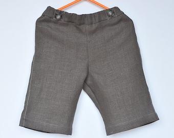 Baby / Toddler Boys natural Linen bermuda Shorts, calf length pants, Dark Grey Bluish, faux pocket, summer,12-18-24 months 2T 3T 4T 5 6