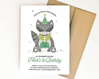 Woodland Birthday Party Invitation, Baby First Birthday Party Invite, Cake Smash Invitation, Raccoon Party // LITTLE RACCOON