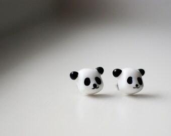 Cute panda earrings small panda post earrings, ear stud earrings, surgical stainless steel posts