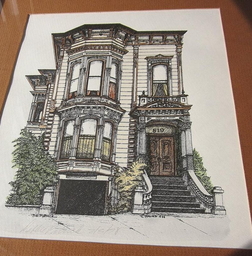 san francisco watercolor litho framed wall art victorian. Black Bedroom Furniture Sets. Home Design Ideas