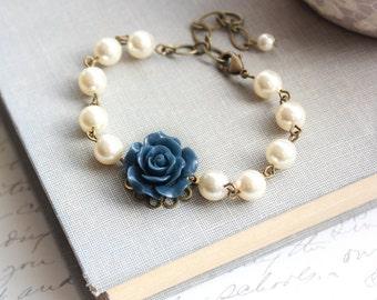 Navy Blue Rose Bracelet Pearl Bracelet Bridemaids Bracelet with pearls Flower Bracelet Dark Blue Wedding Jewelry Something Blue Adjustable