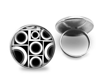 Retro Ring GlassTile Ring Silver Ring Adjustable Ring Retro Jewelry Black and White Glass Tile Jewelry Silver Jewelry