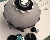 Cameo Pin Cushion Felt Cupcake - Birthday Gift, Decor, Antique, Vintage, Monochromatic, Silhouette, Classic, Bridal