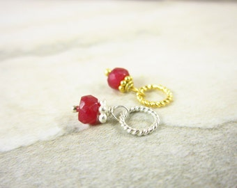 Sale - Precious Ruby Jewelry - Sterling Silver Charms - Genuine Ruby Birthstone - July Birthstone Charm - 40th Anniversary Gift - JustDangle