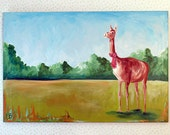 Llama Painting Christmas Llama 24x36 Art Original Acrylic on Canvas Animal Portrait