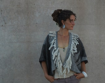 Greyscale Handwoven Alpaca & Merino Sculptural Cloak - Wearable Art Coat