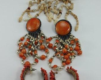 Vintage 80s Earrings Colorful Summer Beachy Tiki Funky Wooden Shells Beaded Destash 3 Pairs