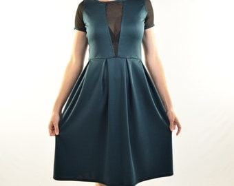 Cut Out Dress - Deep V Chiffon Cut Out with Box Pleat Skirt - custom size and lots of colors