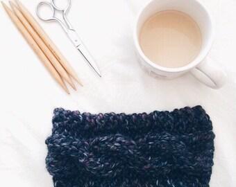 The Hudson Headband - BLACKSTONE // Chunky textured cable knit headband ear warmer fall winter accessory