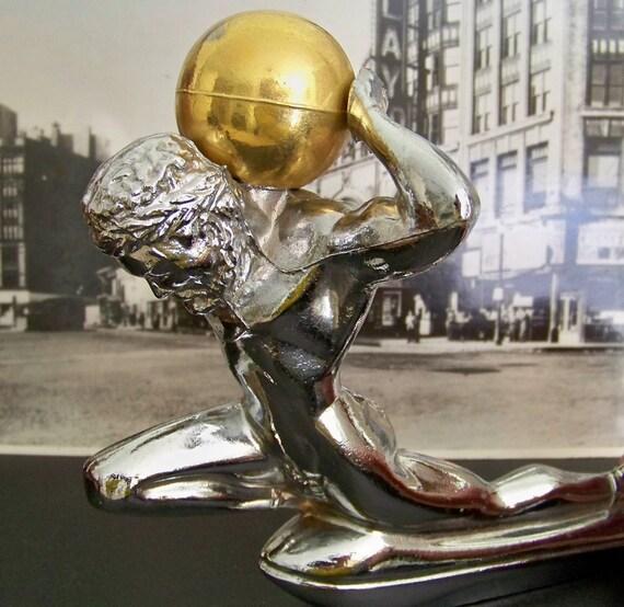 Vintage chrome automobile hood ornament atlas gold colored for Atlas car aluminium