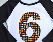Emoji Kids Birthday Shirt for Boy or Girl, Video Game Party, Retro Arcade Number Shirt, Black White Raglan Baseball Tee, Applique Emoticons
