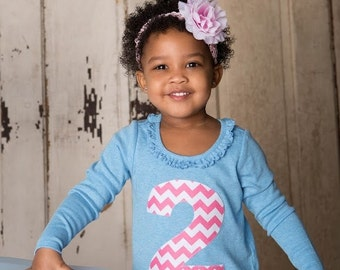 Girls Birthday Dress, Choose Applique Number 2 3 4 5 6, Blue and Pink Chevron, Modern Long Sleeve Tunic, Made to Order, Ruffle Knit Dress