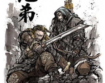 8x10 PRINT Kili and Fili from Hobbit Japanese Calligraphy Brothers