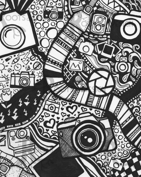 INSTANT DOWNLOAD Coloring Page Camera Art Print by RootsDesign