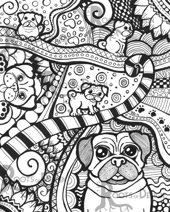 INSTANT DOWNLOAD Coloring Page - Pug/ Dog Art Print ...