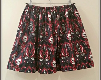 REDUCED - Skulls Daggers and Flames Skirt - free shipping