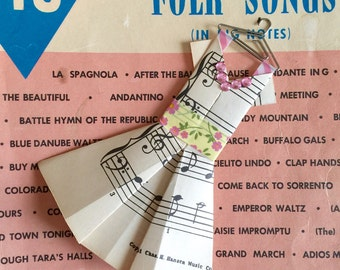 Vintage Sheet Music Dress ///ORNAMENT Teacher gift /// Valentine