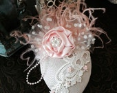 Peaches and Cream Teardrop Ha, Feather Fascinator...Perfect for Weddings, Birthdays, Tea Parties, Photo Shoots, and Dress up Dates