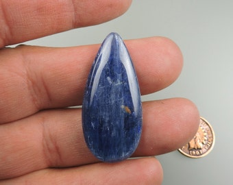 Kyanite Chatoyant Blue 100% Natural Hand Cut Cabochon from 49erMinerals Stock#B1219, free U.S. shipping