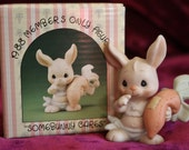 "1988 Precious Moments Birthday Club Bunny - ""Somebunny Cares"" Members Only Figurine"