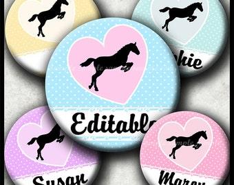 INSTANT DOWNLOAD Editable JPG New I Love Horses (528) 4x6 Bottle Cap Images Digital Collage Sheet for bottlecaps hair bows bottlecap images