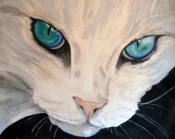 """CAT, White fur and Turquoise Eyes, Feline, Cat lover,  Extra Large Original Painting, Home Decor Wall Art, 56""""x 56"""",  Free Shipping in USA."""