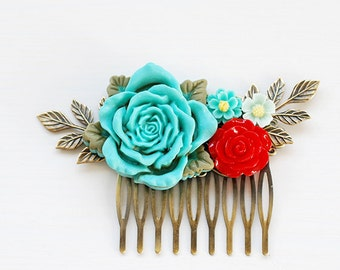 Turquoise Blue Red Rose Hair Comb Floral Leaf Hair Comb Red Turquoise Blue Wedding Bridal Hair Comb Wedding Hair Comb Woodland Wedding