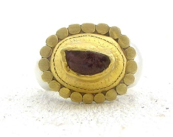 Rough Garnet Ring - 24k Solid Gold & Sterling Silver Ring -  Cocktail Ring - Garnet Ring Raw -  READY TO SHIP