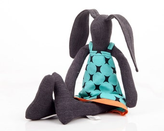 Stuffed animal - Textile black bunny doll ,handmade stuffed rabbit doll ,retro teal turquoise circles dress - plush eco doll -Nursery Deco