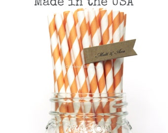 25 Orange Paper Straws, Orange Straws,Striped Straws Cake Pop Sticks Party Supplies Straws, Vintage Wedding, Rustic Baby Shower, Made in USA